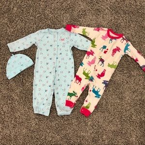 Two snap-up cotton sleep & play outfits
